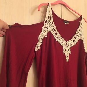 VENUS Tops - Venus Burgundy cut out bell sleeve tee shirt
